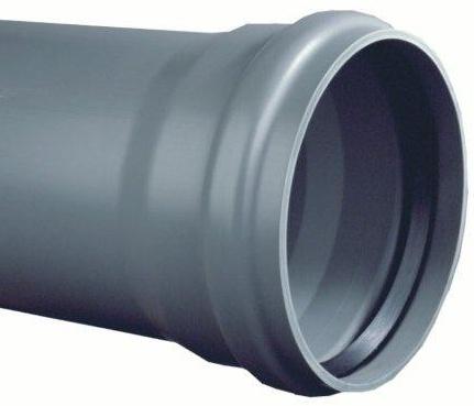 PVC afvoerbuis 200 mm SN8 grijs met manchetmof L = 5 m