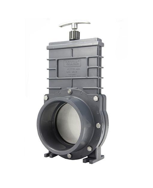 Valterra PVC schuifkraan 90 mm - 2 x lijmmof / RVS schuif