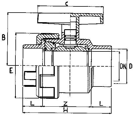 EFFAST PVC kogelkraan 1x wartel 90 mm (drukklasse 10 Bar)