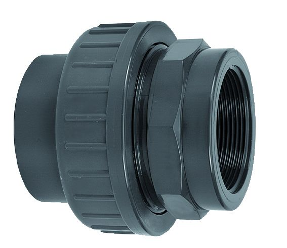 VDL PVC drie-delige 25 mm x 3/4'' koppeling lijm- en binnendraadverbinding & RVS ring