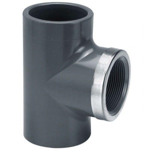 VDL PVC T-stuk 90 graden 16 mm x 3/8'' PN16 met RVS ring