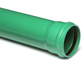 PVC afvoerbuis 200 mm SN8 groen met manchetmof L = 5 m