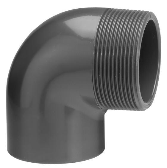 VDL PVC knie 90 graden 25 mm x 1'' met buitendraad