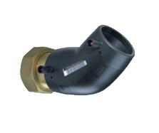 "Plasson Elektrolas overgangsknie 63 mm x 21/2"" - 45 graden messing bi.dr. met losse wartel"