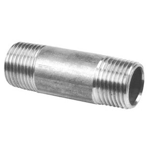 "RVS pijpnippel 1 1/2"" x 80 mm"