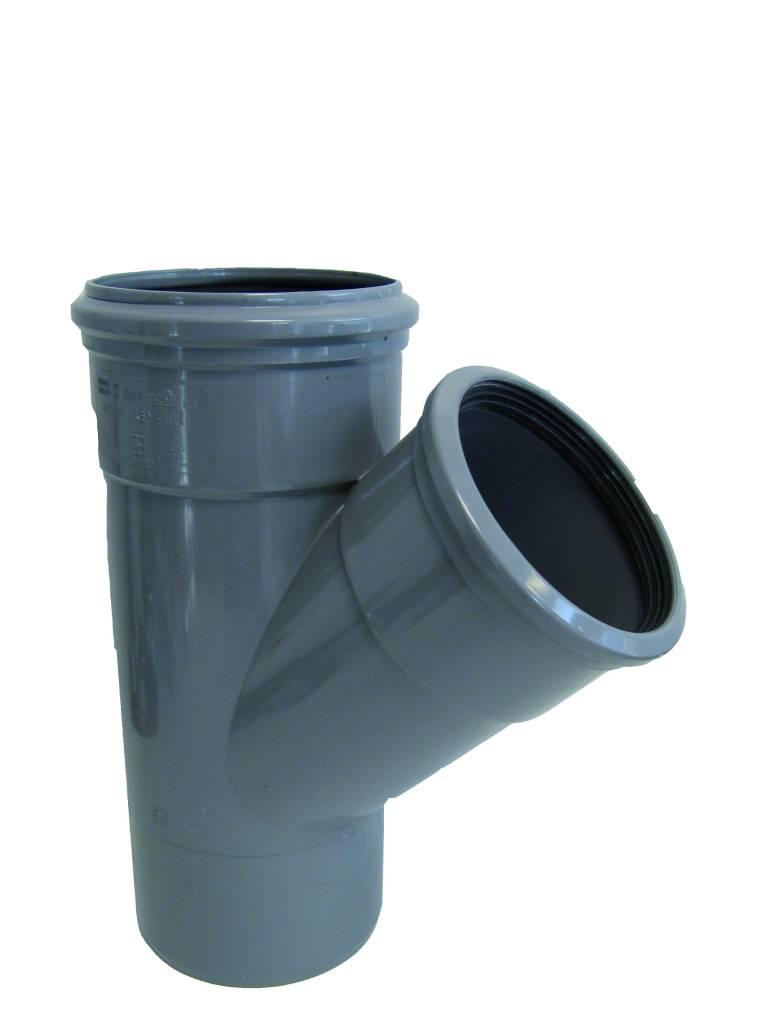 PVC T-stuk 45 graden 250 mm SN4 (2x mof/spie)