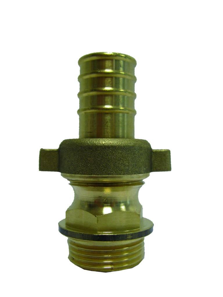Messing driedelige slangkoppeling 3/4'' (bui.dr) x 25 mm (slangtule)
