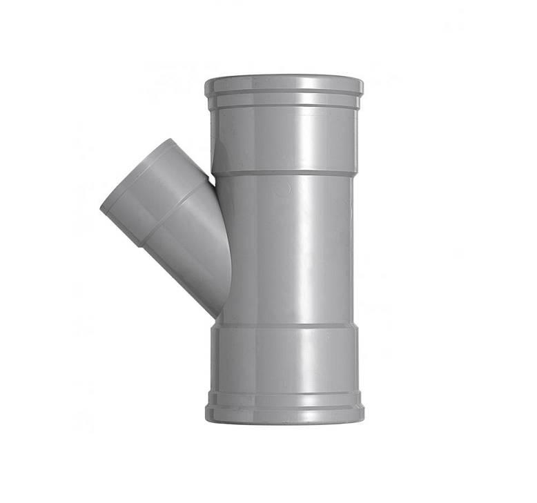 PVC T-stuk 45 graden 125 x 75 mm SN4 (mof/mof/lijm)