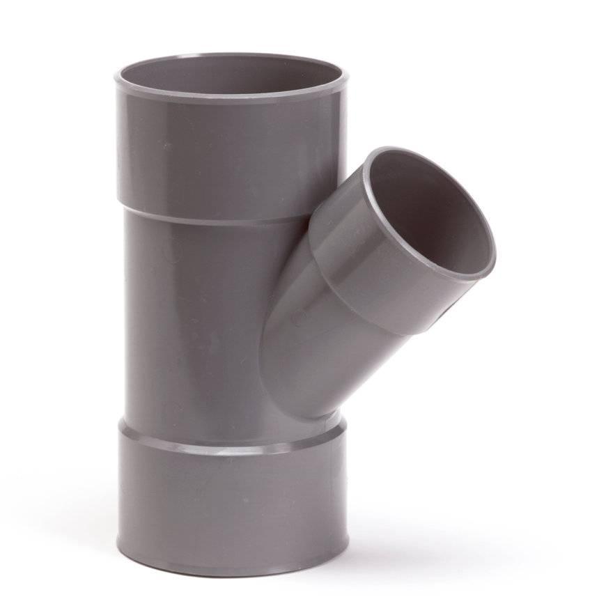 PVC T-stuk 45 graden 75 x 50 mm (mof/mof/lijm)