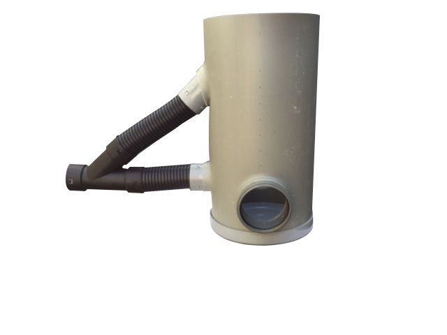 Drainageput 315 met deksel 2 x 125 mm PVC en 80 mm drainageaansluiting