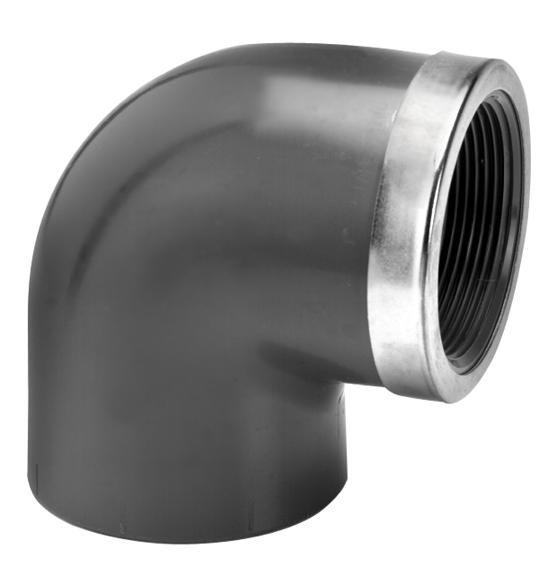 VDL PVC knie 75 mm x 2 1/2'' 90 graden met binnendraad en ring