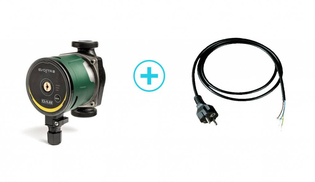 "DAB Evosta 2 40-70/130 1/2"" circulatiepomp (CV pomp) & kabel"