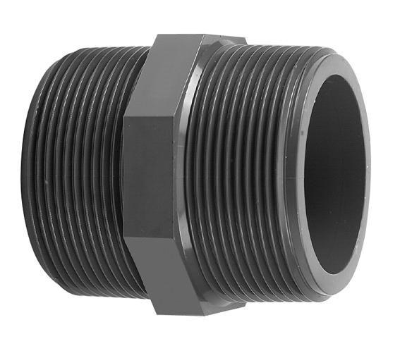 VDL PVC draadnippel 1 1/2'' x 1 1/2'' PN16