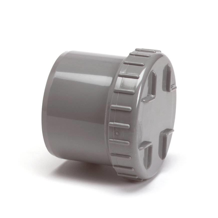 PVC eindstuk met schroefdeksel 75 mm (uitwendig lijm)
