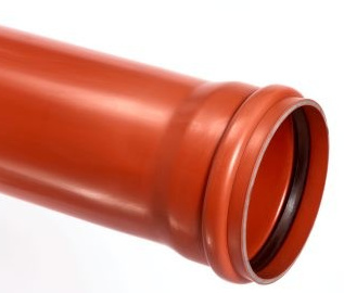 PVC afvoerbuis 250 mm SN8 bruin met manchetmof L = 5 m