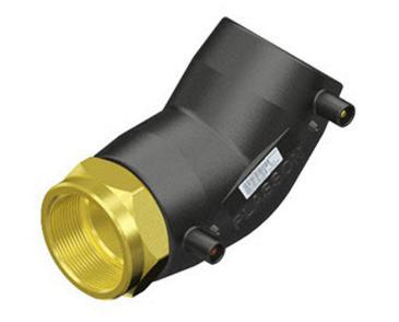"Plasson Elektrolas overgangsknie 40 mm x 1 1/2"" - 45 graden messing bi.dr."
