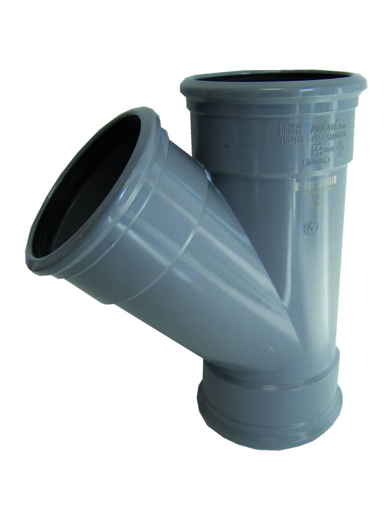 PVC T-stuk 45 graden 200 mm SN4, 3 x mof