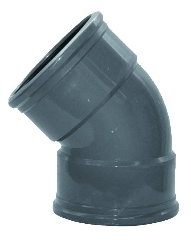 PVC bocht 45 graden 200 mm SN8 (mof/mof)