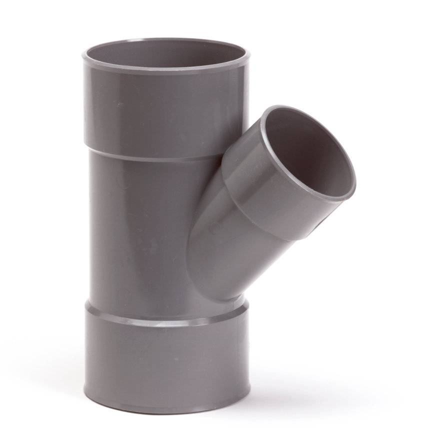 PVC T-stuk 45 graden 50 x 50 mm (mof/mof/lijm)