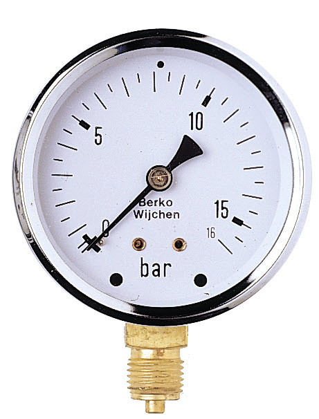 IrriTech Manometer 0-16 BAR glycerine gevuld 1/4'' bu.dr.