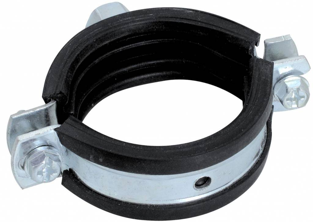 PVC HWA schroefbeugel met rubber M8 - 50 - 55 mm