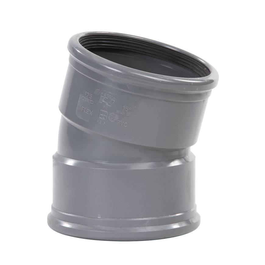 PVC bocht 15 graden 250 mm SN8 (mof/mof) kort model